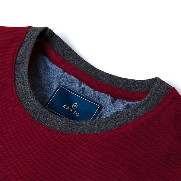 Sarto Avner dark red short sleeve fashion tee with zipper and embroidery