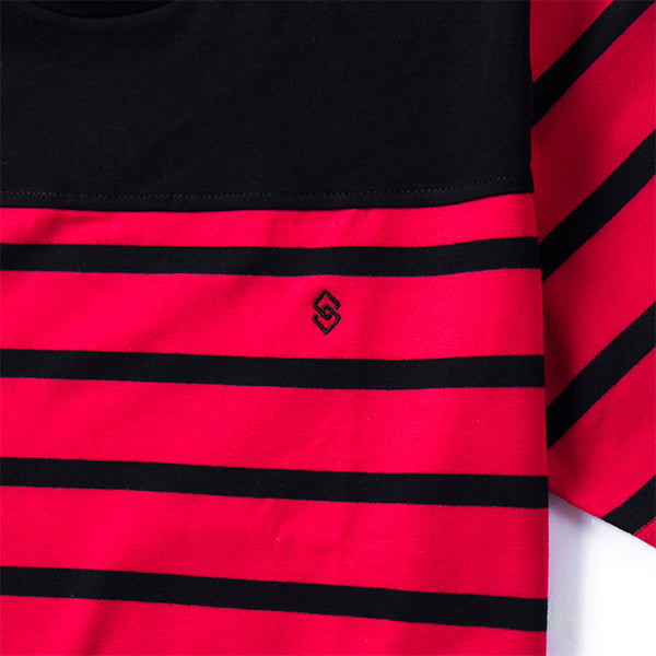 Sarto Avner red and black striped short sleeve fashion tee with logo embroidery