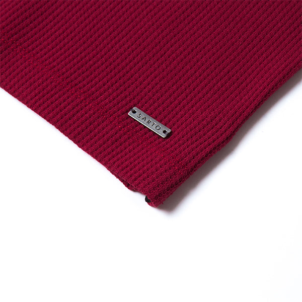 Sarto Avner red waffle short sleeve tee with flat knit neckband and cuff