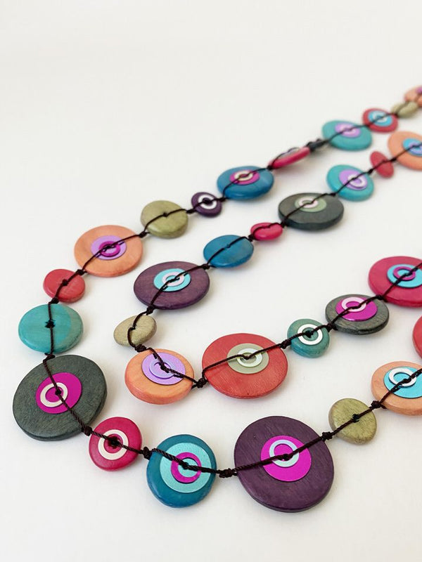 Multi Color Wooden Disc Necklace