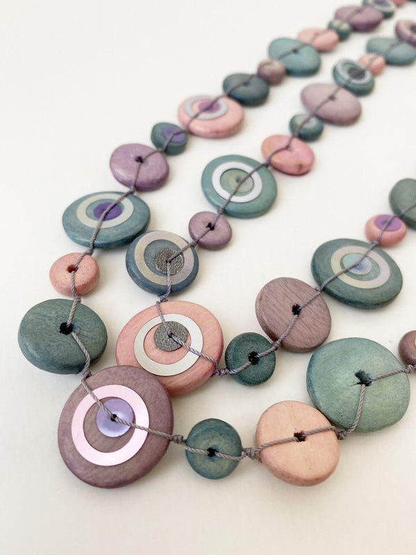Pink & Gray Wood Necklace