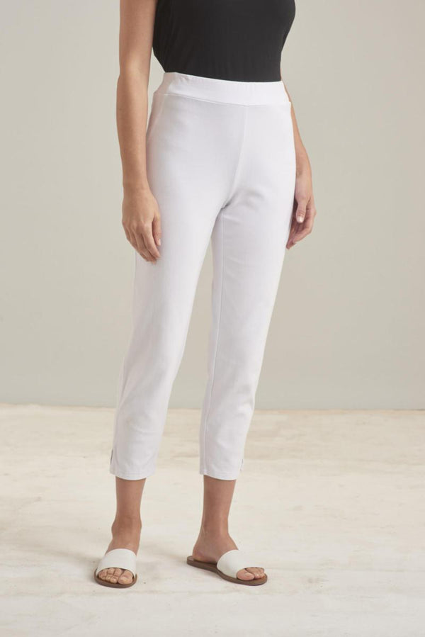 White Stretch Crepe Pant
