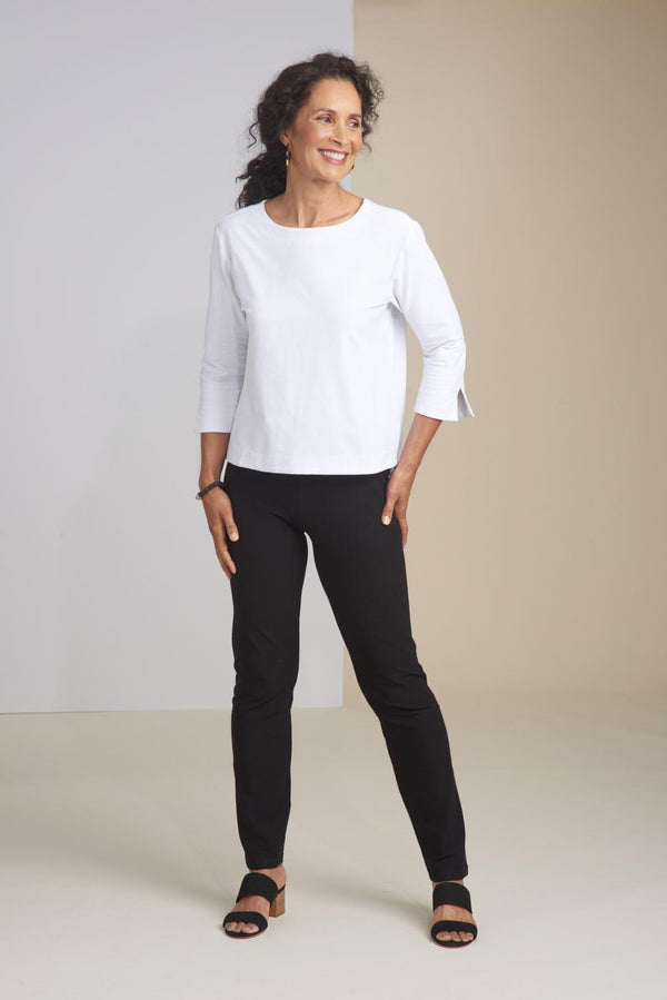Black Taper Stretch Crepe Pant