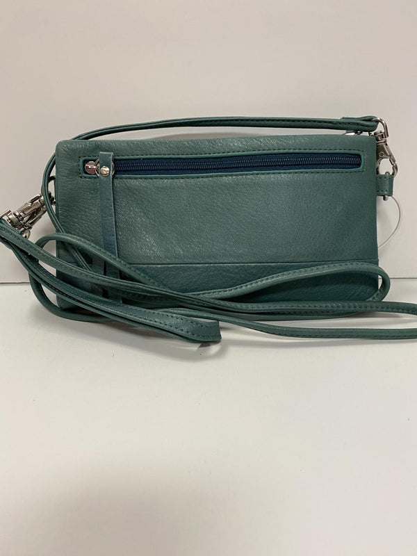 Teal Leather Phone Wallet Bag