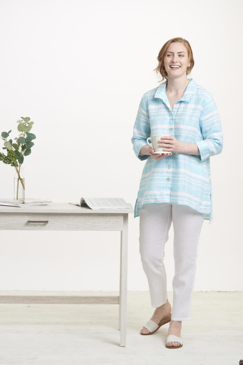 Maui Linen Stripe Tunic Shirt