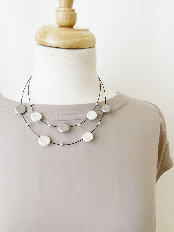Silver on Black Float Necklace