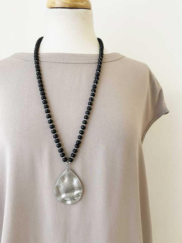 Matte Silver & Bead Necklace