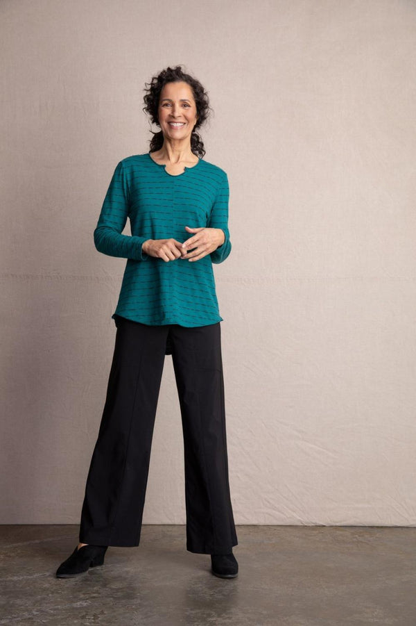 Green Seam Shirttail Top