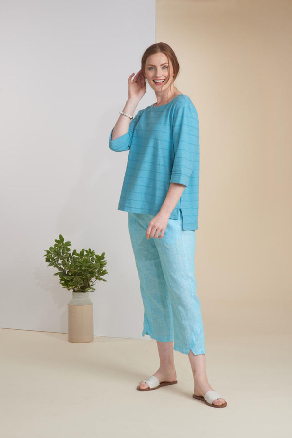 Aqua Cotton Tuck Pleat Top