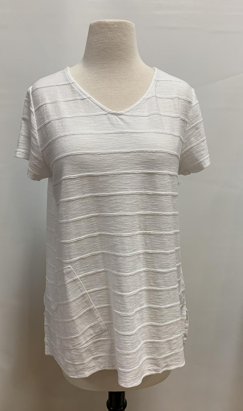 White Tuck Pleat Tee