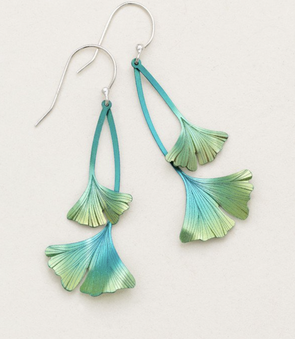 Green Gingko Leaf Earring