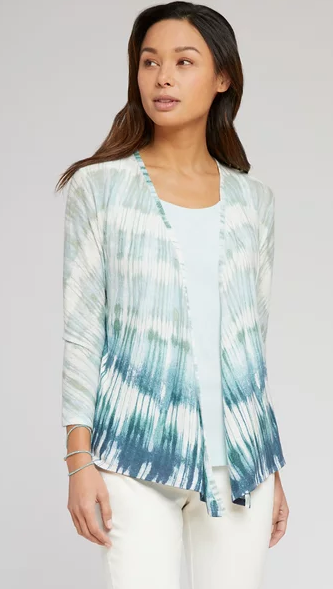 Soft Blues Shibori Linen Cardi