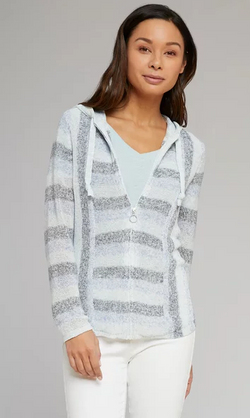 Striped Linen Zip Jacket
