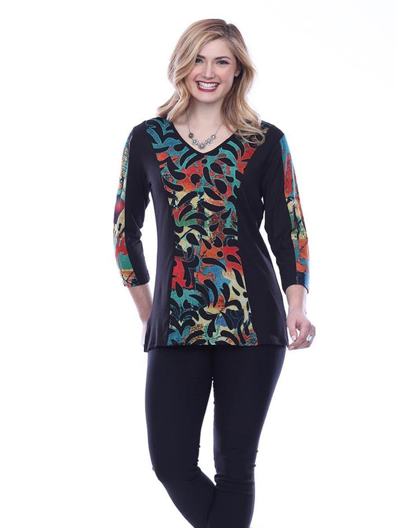Multi Rainbow V Neck Top