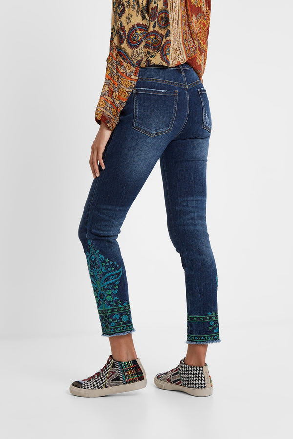 Denim Skinny Detail Trousers