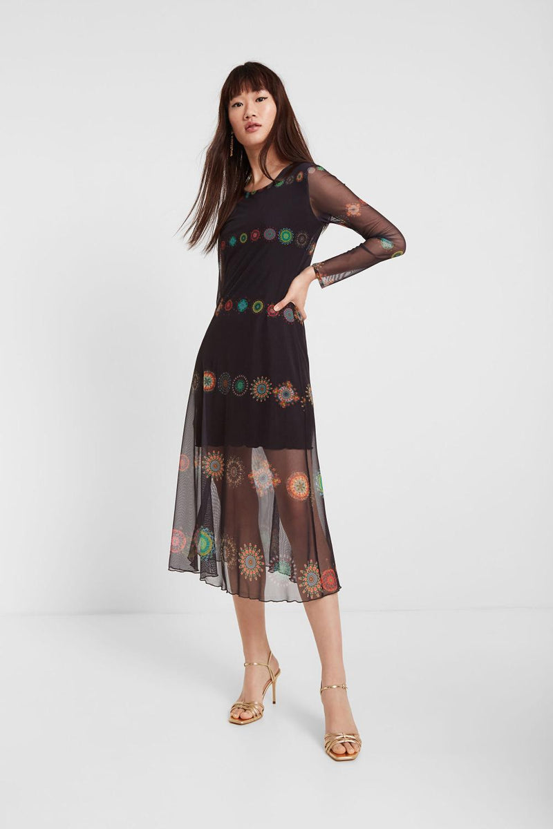 Medallion Sheer Formal Dress
