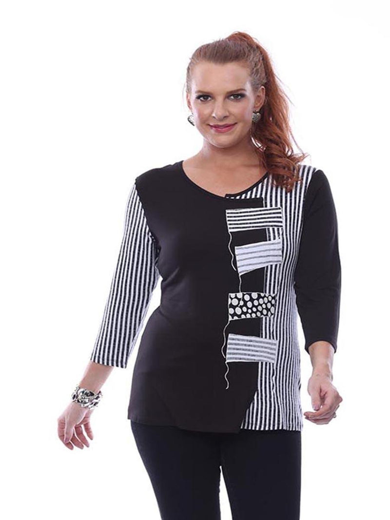 Black & White Stripe Patch Top