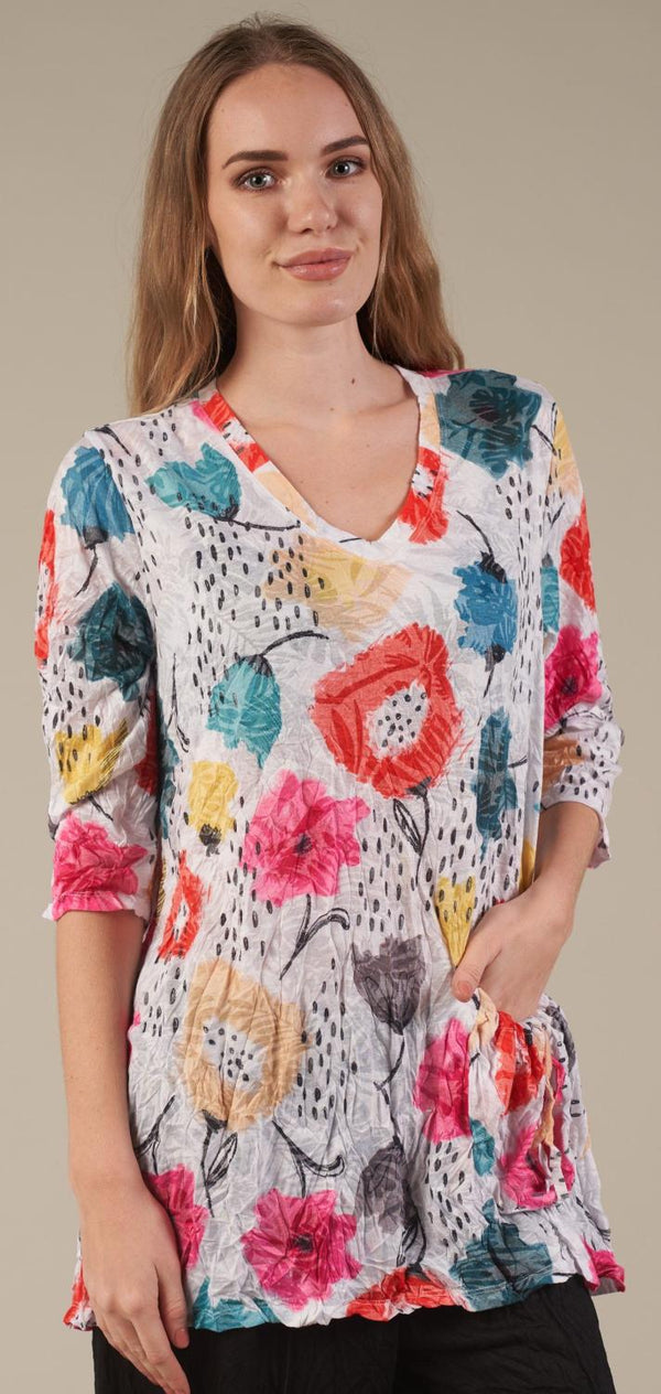 Happy Flowers Pocket Tunic