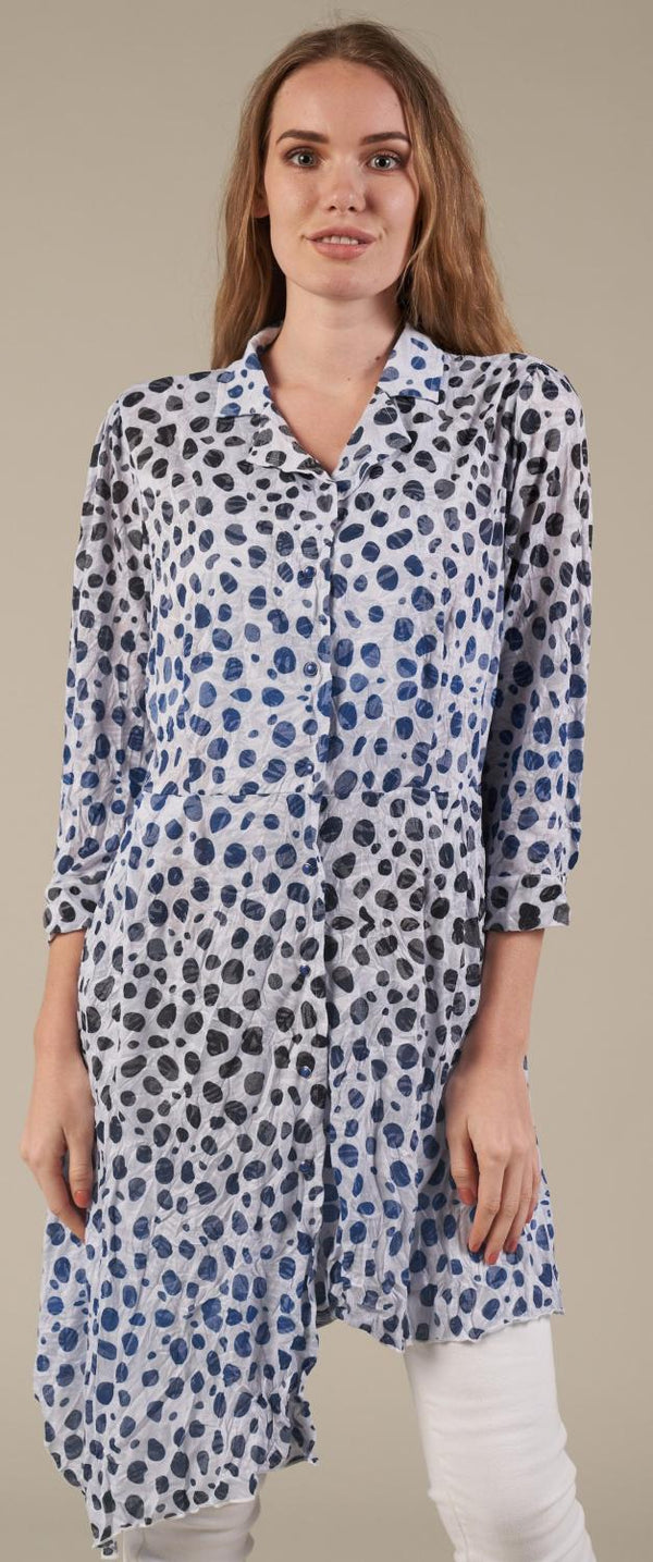 Dots Crinkle Shirt Dress