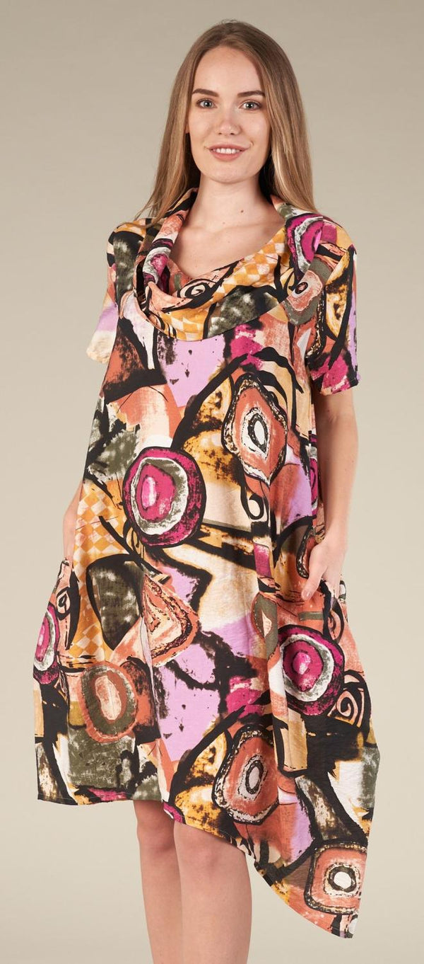 Geo Graffiti Cowl Dress