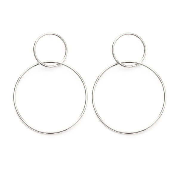Silver Double Ring Earring