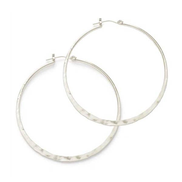 1.5in Hammered Silver Hoops