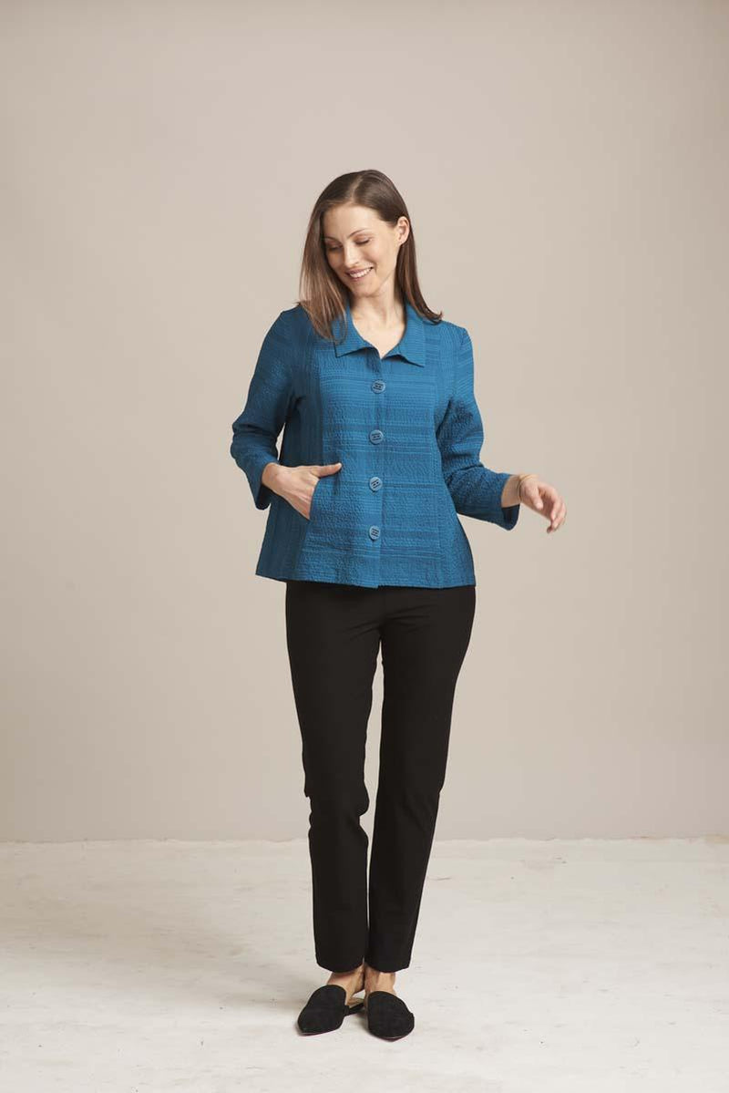 Aqua Mixed Stripe Shirttail Top
