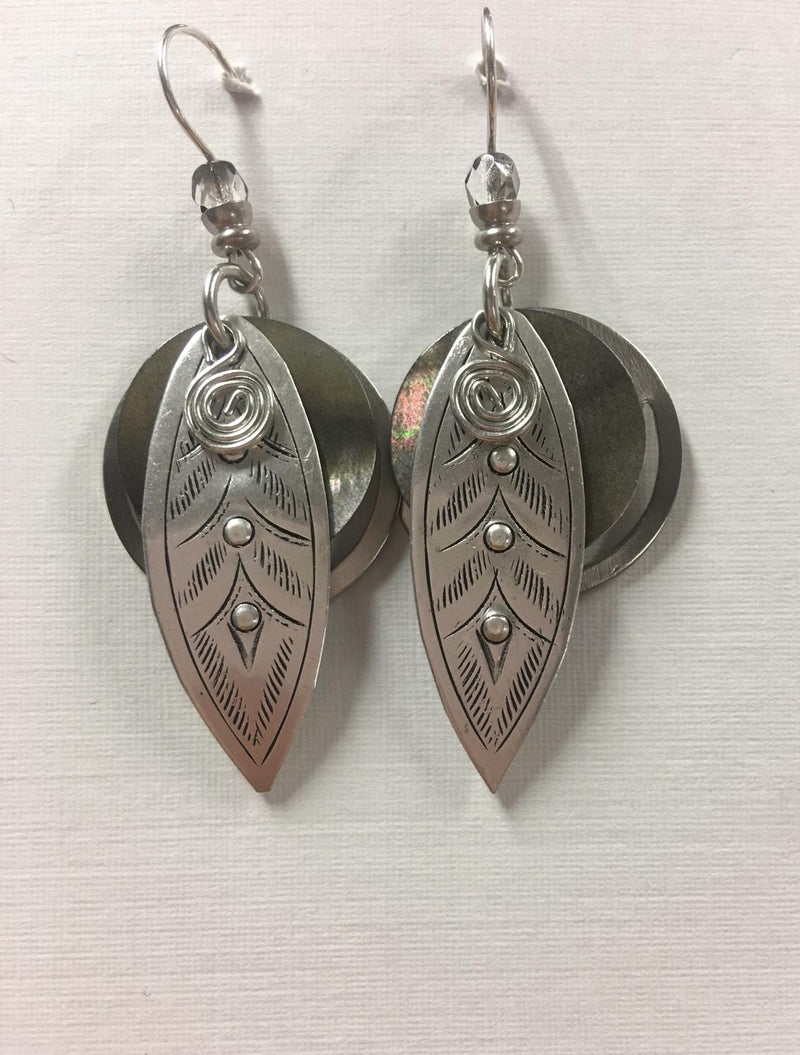 Silver Etched Leaf Ear