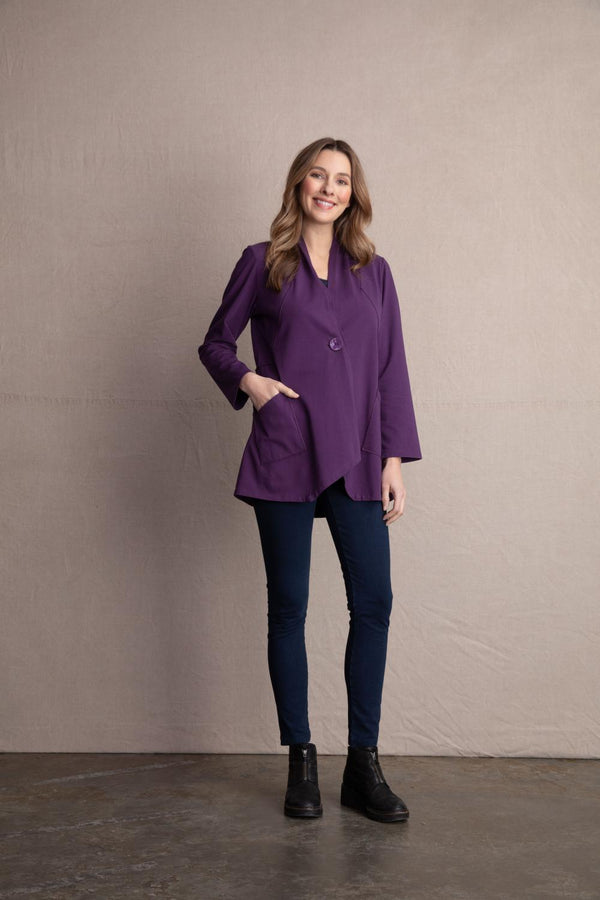 Plum Lycra Button Jacket