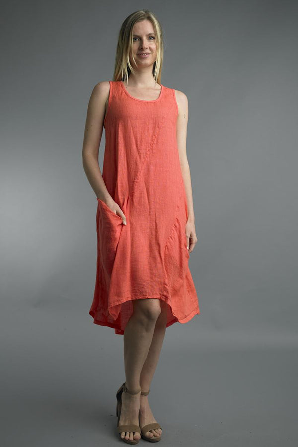 Coral Linen Pocket Dress