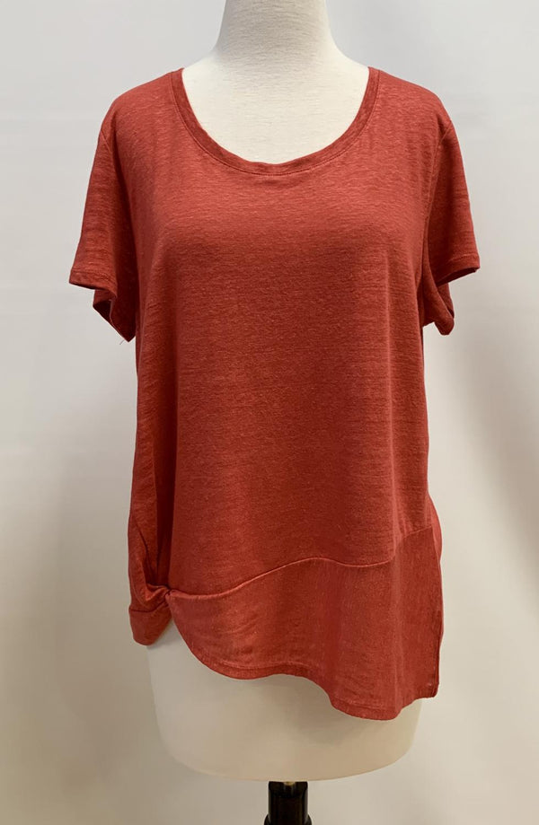 Sunset Twist Linen Jersey Top