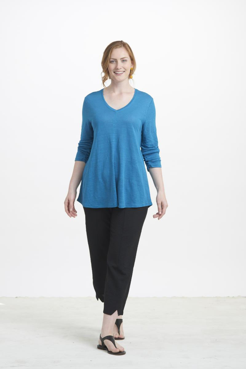 Turquoise V Neck Linen Jersey Top