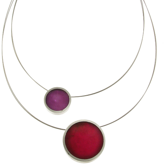 2 Piece Reversible Floating Necklace in Fucshia
