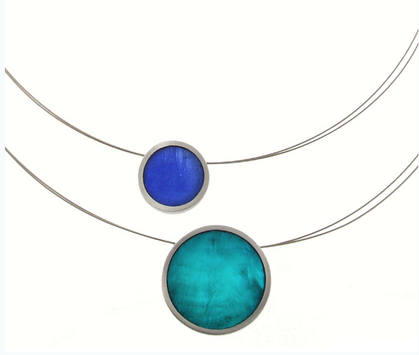 2 Piece Reversible Floating Necklace in Turq