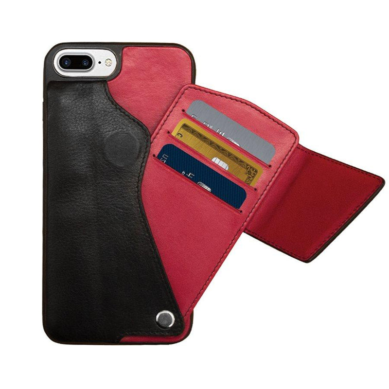 IPHONE CASE LEATHER BLACK RED