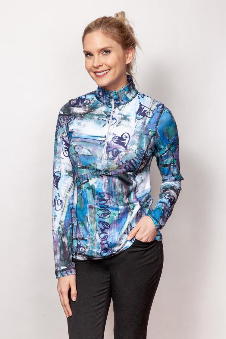 Graffiti Zip Sport Top
