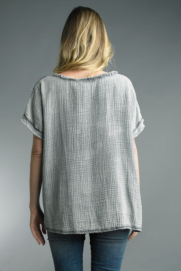 Cotton Gauze Crinkle Tee