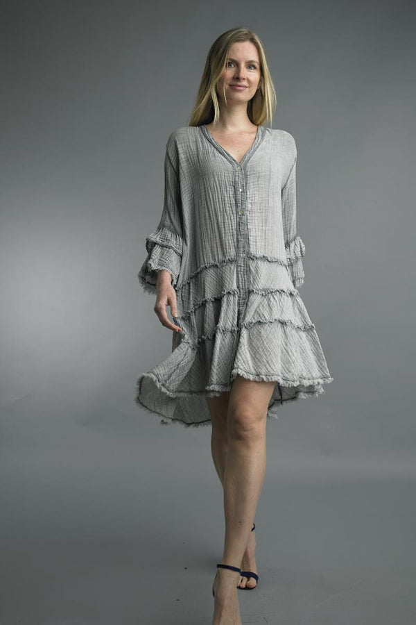 Cotton Gauze Crinkle Dress
