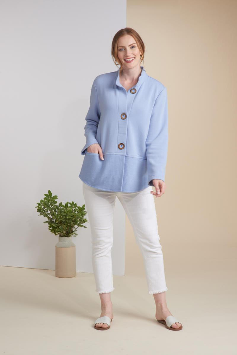 Spa Blue Button Terry Jacket