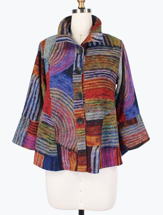 Abstract Circle Flannel Jacket