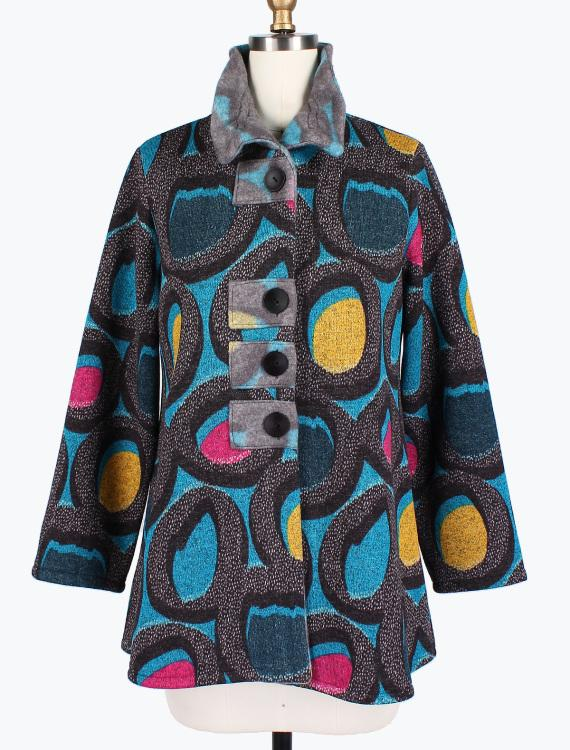 Circle Print Turquoise Patch Jacket