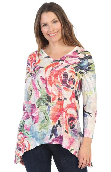 Plus Watercolor Roses Tunic