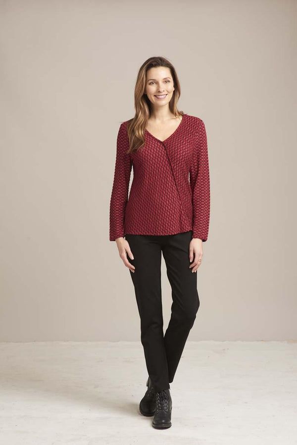 Red Texture Seam Top