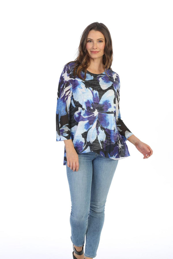 Royal Flower Burnout Top