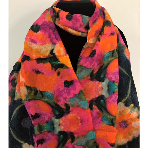 Wild Poppies Cotton Scarf