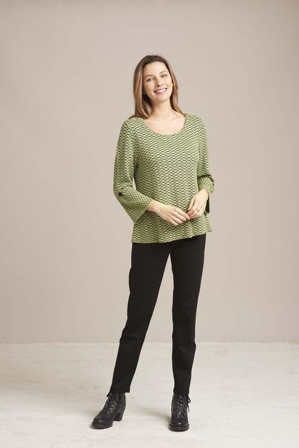 Sage Pucker Flare Top