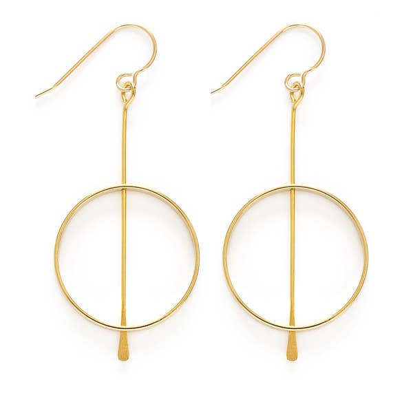 Gold Kinetic Circle Earring