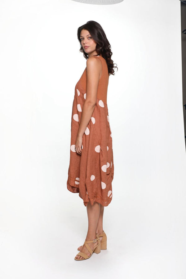 Linen Polka Dot Dress