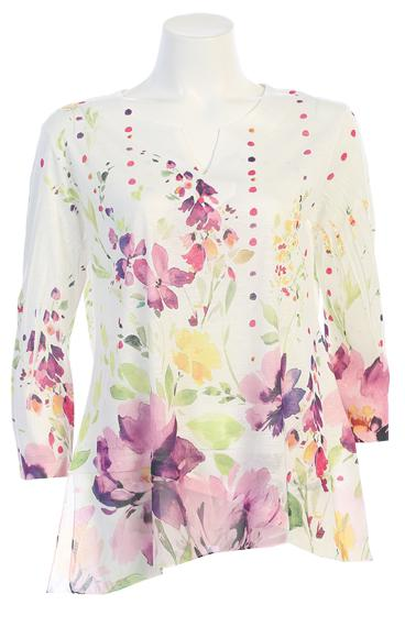 Chiffon Trim Floral Dot Top