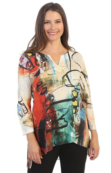 Plus Chiffon Trim Graffiti Top